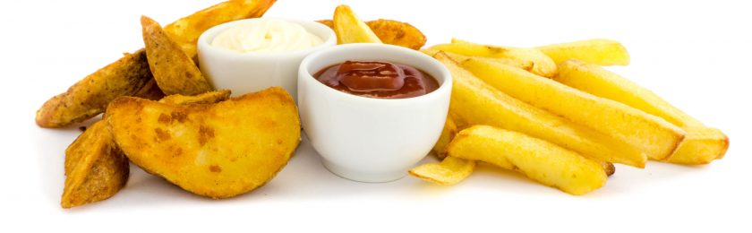 French fries and wedges with dip isolated on white background